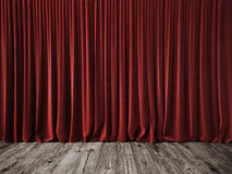 Red curtains and vintage wood floor Stock Photos