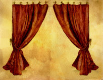 Red Curtains. Watercolor. Red curtains on watercolor yellow background stock illustration