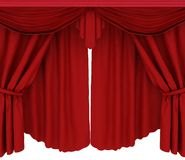 Red curtains on a white background Stock Images