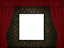 Red curtains white frame Royalty Free Stock Photography