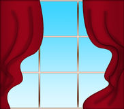 Red curtains and window Royalty Free Stock Images