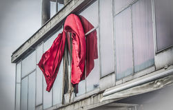 Red curtains. On a windy day Stock Photo