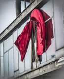 Red curtains. On a windy day Stock Photography