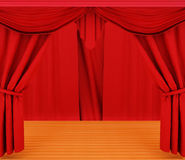 Red curtains and wooden floor Royalty Free Stock Photos