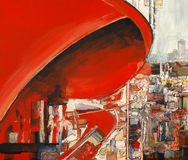The red curve. Abstraction; also industrial landscape painting Royalty Free Stock Image