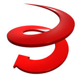 Red curve arrow down direction Royalty Free Stock Photography