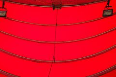 Red curve awning. Bottom view of red curve awning Stock Image