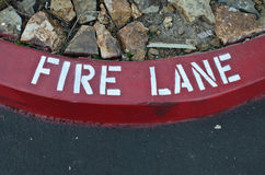 Red Curve Fire Lane Royalty Free Stock Photography