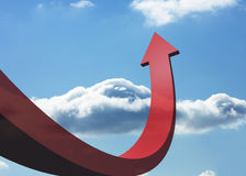 Red curved arrow pointing Royalty Free Stock Image