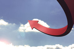Red curved arrow pointing up Royalty Free Stock Images