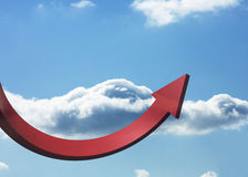 Red curved arrow pointing up Stock Photos