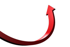 Red curved arrow pointing up Royalty Free Stock Photography