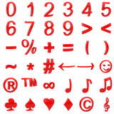 Red curved 3D numbers and symbols Stock Photo
