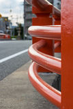 Red Curved Wall of Bridge. A curved wall of bridge in Yamaguchi City, Japan Stock Photos