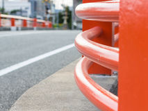 Red Curved Wall of Bridge in Yamaguchi City. A curved wall of bridge in Yamaguchi City, Japan Stock Image