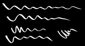 Red curved wave lines drawn with a marker stock illustration