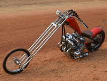 Red Custom Chopper on dirt Stock Photography