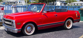 Red custom convertible pick up truck Royalty Free Stock Image
