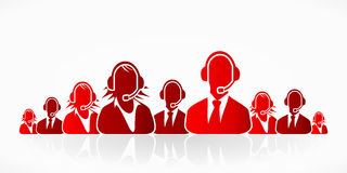 Red customer service. People group abstract silhouettes Stock Photo