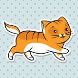 Red cute funny cat run. Vector illustration Stock Photography