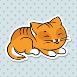 Red cute funny cat sleep. Vector illustration Royalty Free Stock Image