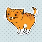 Red cute funny cat stand. Vector illustration Royalty Free Stock Images