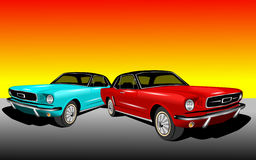 Red and Cyan Mustang Royalty Free Stock Images
