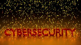 Red cybersecurity word in a rain of glowing sparks stock illustration