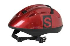 Red cycling helmet. A red bicycle helmet with the letter s Royalty Free Stock Images
