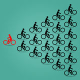 Red cyclists in the opposite direction of the bike is black. Illustrator EPS 10 Stock Photo