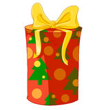 Red cylinder gift box with Christmas trees and yellow bow. Royalty Free Stock Photos
