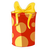 Red cylinder gift box with yellow bow. Royalty Free Stock Photography