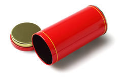 Red Cylindrical Metal Container Stock Photo
