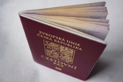 red Czech passport with a state symbol (lions and eagles) Stock Photos
