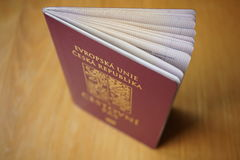 Red Czech passport on the wooden surface Royalty Free Stock Photos