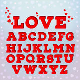 Red 3d alphabet with love inscription. Sweet love font on on blue soft background. EPS 10 vector illustration Stock Photography