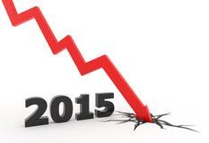 2015 red 3D arrow crash Royalty Free Stock Image
