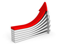 Red 3d arrow leader of white group pile. success leadership Stock Image