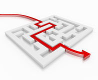 Red 3d arrow leads through a maze Stock Photography