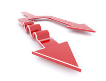 Red 3D arrow seperates into two distinct path. One is choosing the smooth easy way, another is full of obstacles, but it goes further in the long run Royalty Free Stock Image