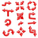 Red 3d arrows. Set of different shiny web signs. Vector illustration isolated on white background Stock Images