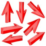 Red 3d arrows. Set of shiny straight signs. Vector illustration isolated on white background royalty free illustration