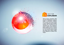 Red 3D ball exploded into pieces Royalty Free Stock Images