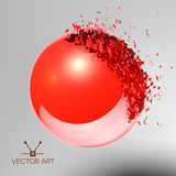 Red 3D ball exploded into pieces Royalty Free Stock Image