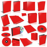 Red 3d blank cover collection. Isolated on white Royalty Free Stock Image