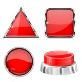 Red 3d buttons and icons. With metal frame. Vector illustration isolated on white background Stock Image