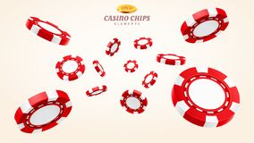 Red 3d casino chips or flying realistic tokens. For gambling, entertainment house volumetric blank or empty cash for roulette or poker, blackjack. Gamble and royalty free illustration