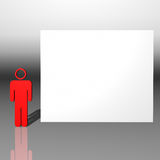 Red 3D character and white presentation Royalty Free Stock Photos