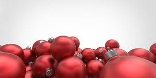 Red 3D christmas balls tree globes  on whi Royalty Free Stock Photos