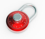 Red 3D chrome locked pad lock on a white background Royalty Free Stock Image